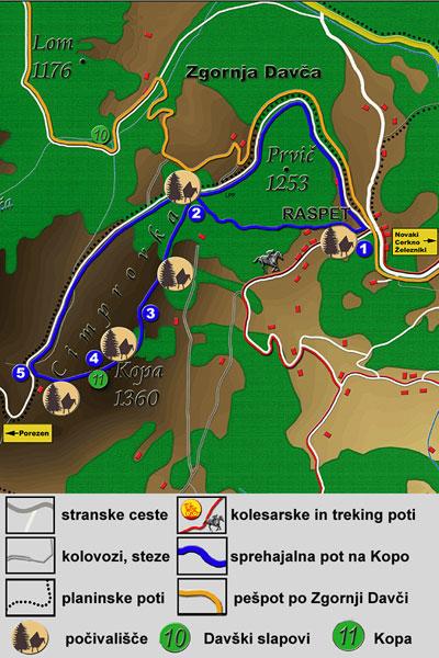 Zemljevid - pot Kopa