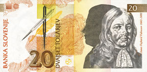 Janez Vajkard Valvasor na bankovcu
