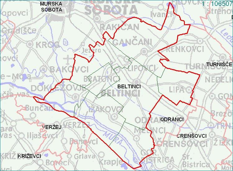 Beltinci - zemljevid
