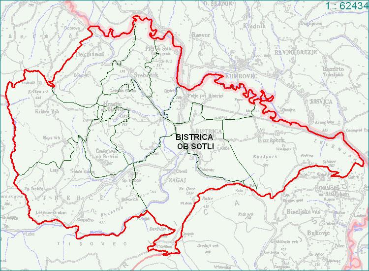 Bistrica ob Sotli - zemljevid
