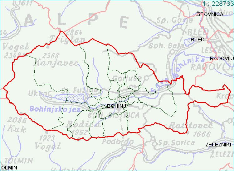 Bohinj - zemljevid