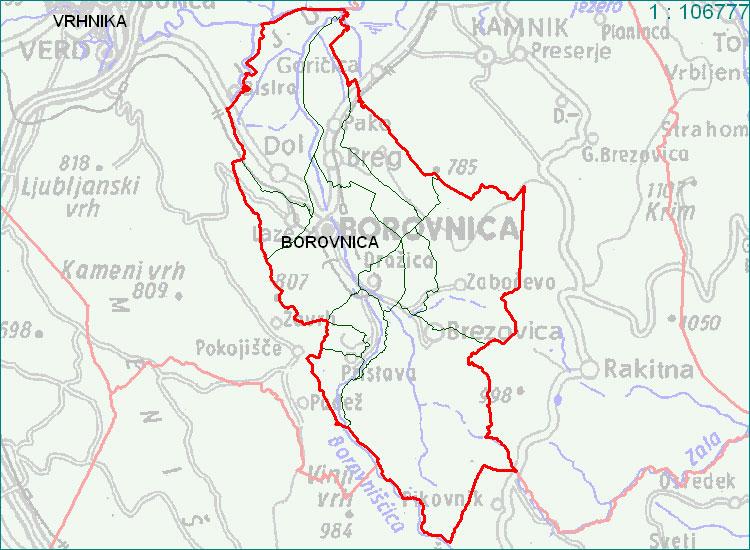 Borovnica - zemljevid
