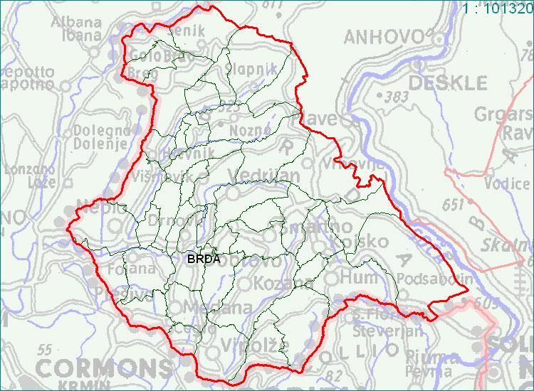Brda - zemljevid