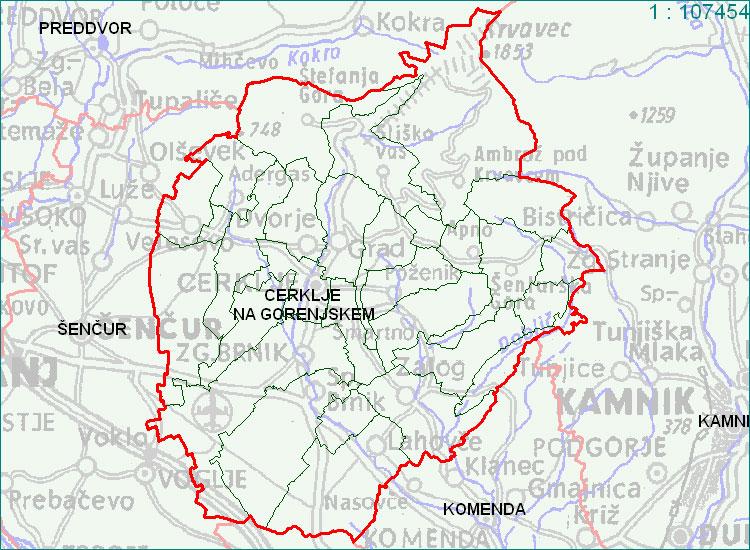 Cerklje na Gorenjskem - zemljevid