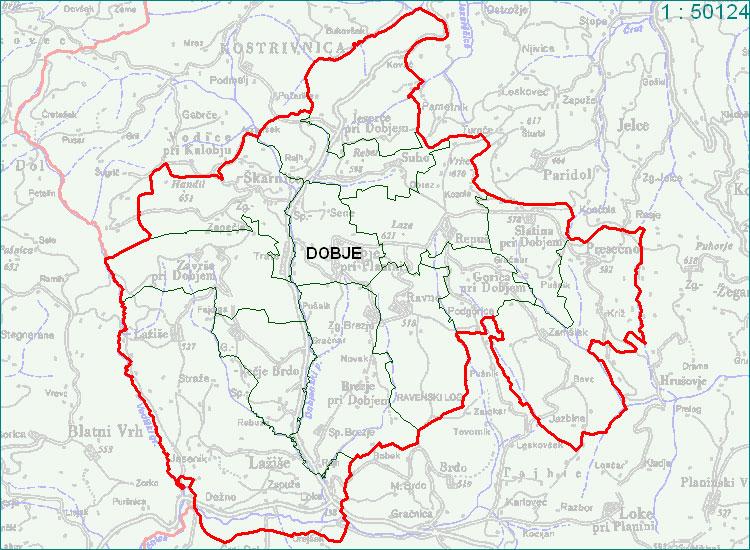 Dobje - zemljevid