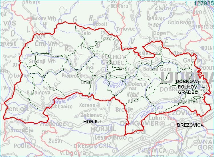 Dobrova - Polhov Gradec - zemljevid