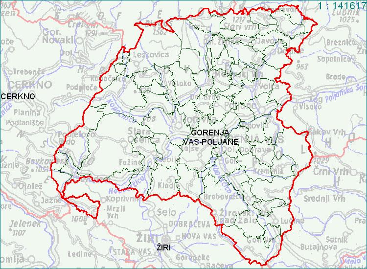 Gorenja vas - Poljane - zemljevid