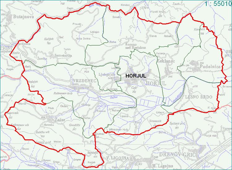 Horjul - zemljevid