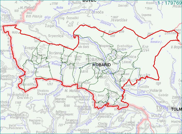 Kobarid - zemljevid