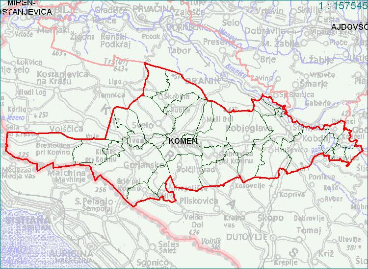 Komen - zemljevid