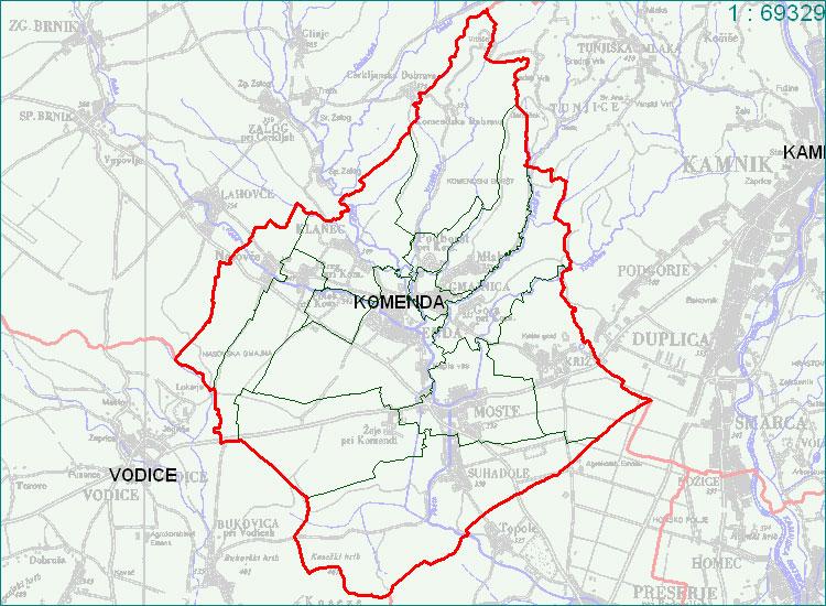 Komenda - zemljevid