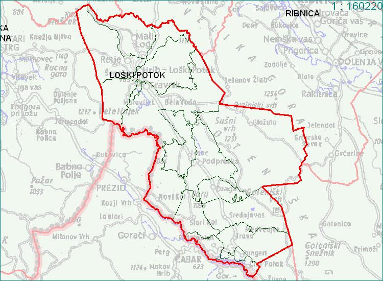 Loški Potok - zemljevid