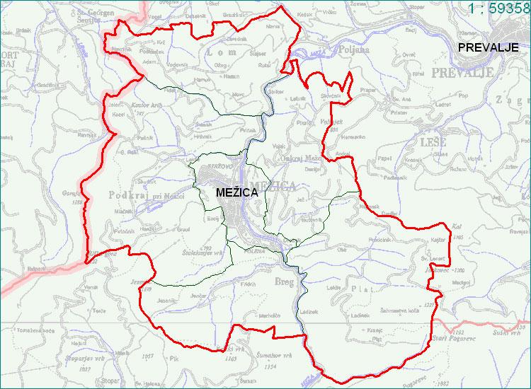 Mežica - zemljevid