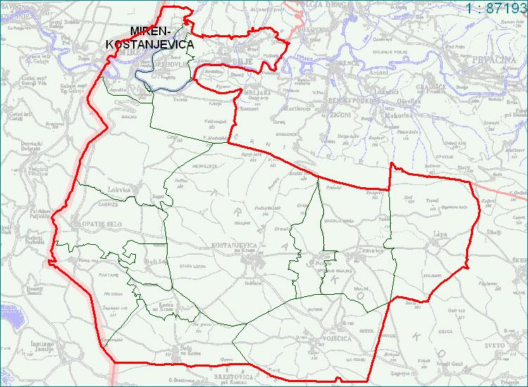 Miren - Kostanjevica - zemljevid