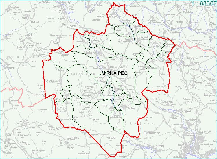 Mirna Peč - zemljevid