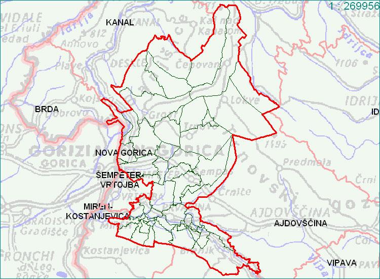 Nova Gorica - zemljevid