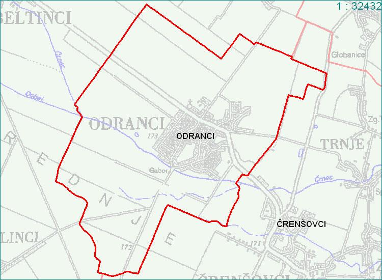 Odranci - zemljevid