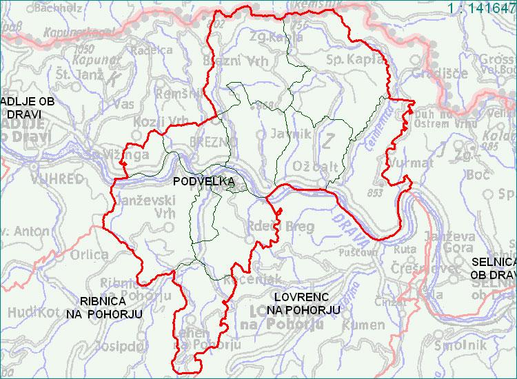 Podvelka - zemljevid