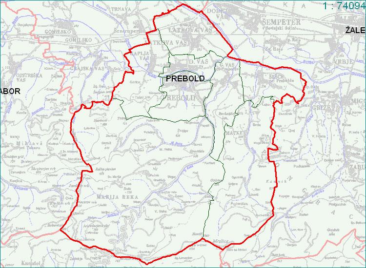Prebold - zemljevid