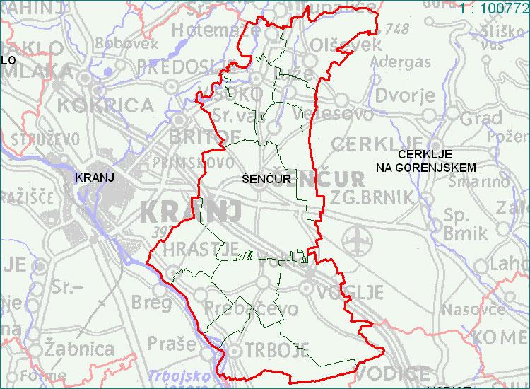 Šenčur - zemljevid