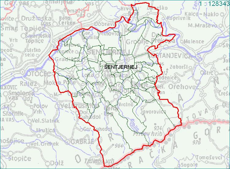 Šentjernej - zemljevid