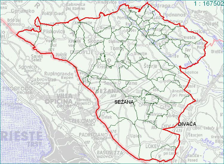 Sežana - zemljevid