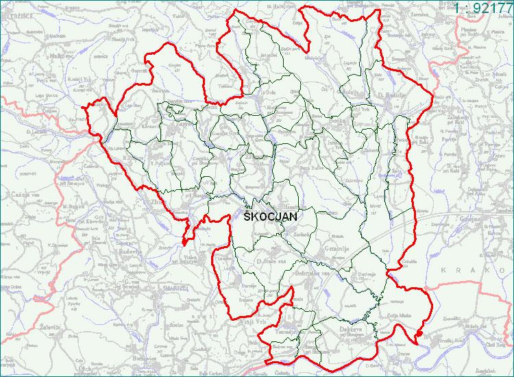 Škocjan - zemljevid