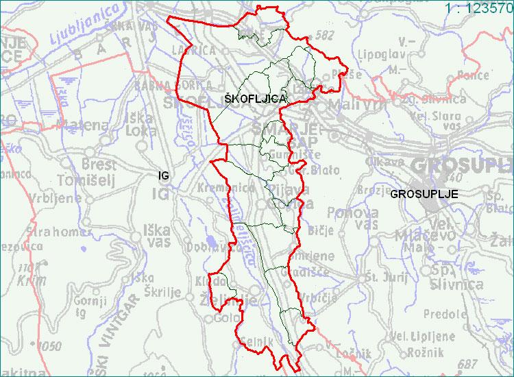 Škofljica - zemljevid