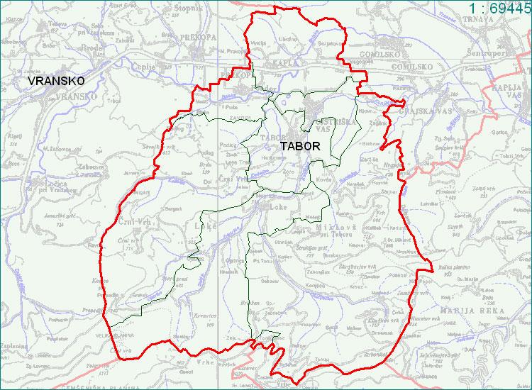 Tabor - zemljevid