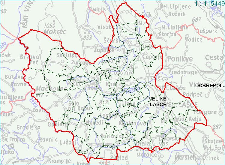 Velike Lašče - zemljevid