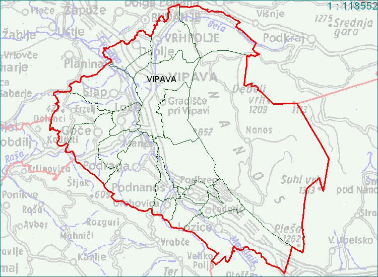Vipava - zemljevid
