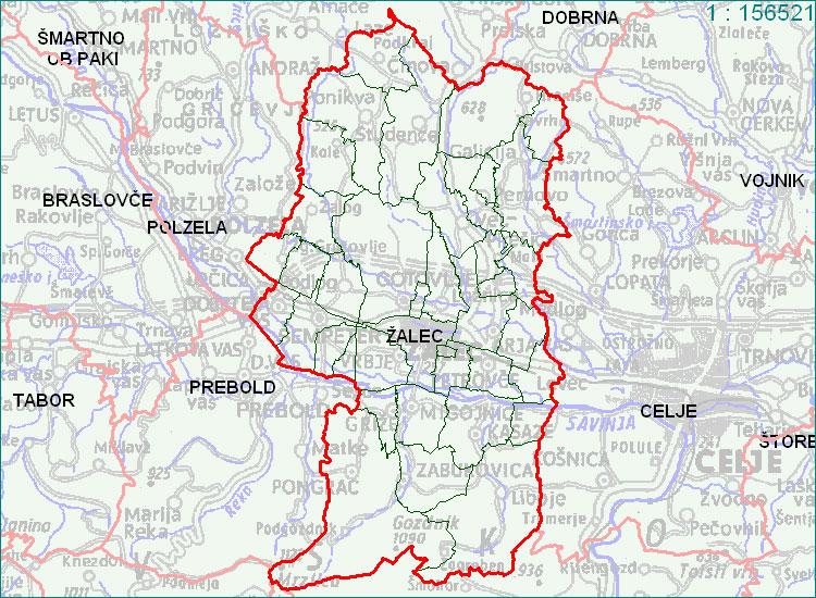 Žalec - zemljevid