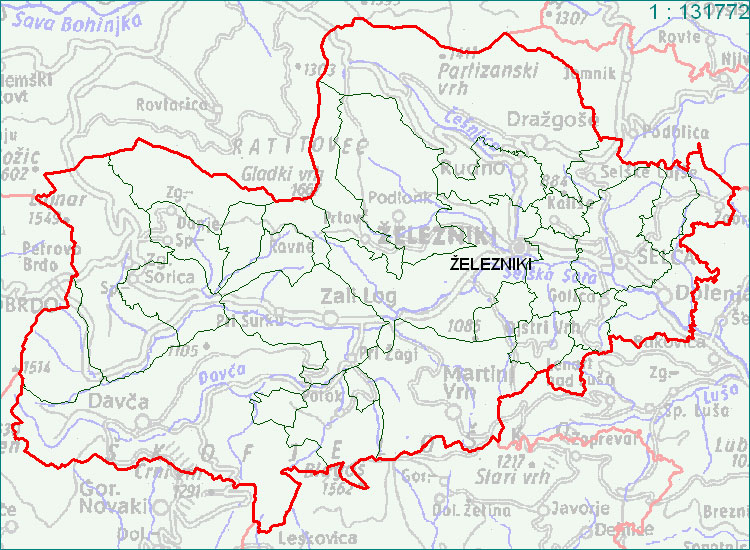 Železniki - zemljevid