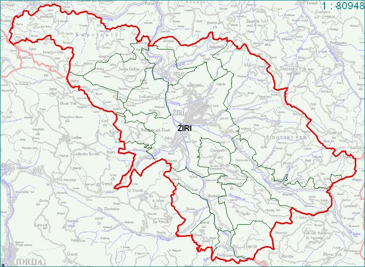 Žiri - zemljevid