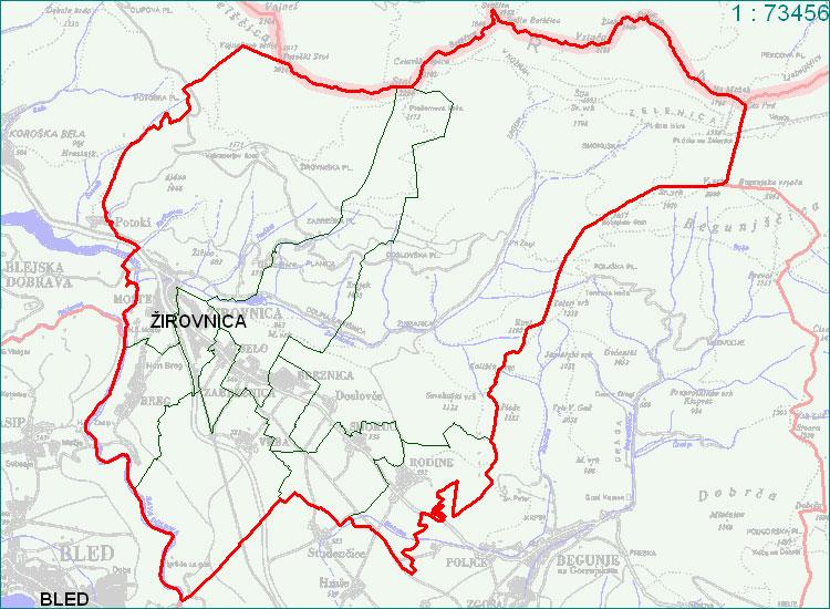 Žirovnica - zemljevid