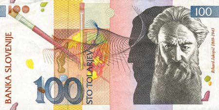 Rihard Jakopič na bankovcu