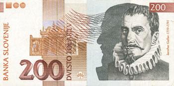 Jakob Petelin Gallus na bankovcu