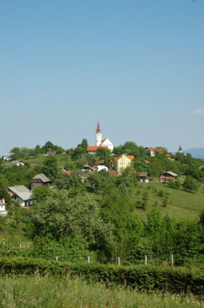 Pogled na Bučko s cerkvijo sv. Matija na griču iz Stopnega