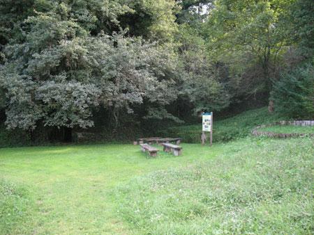 Miren kotiček v parku z izvirom vode