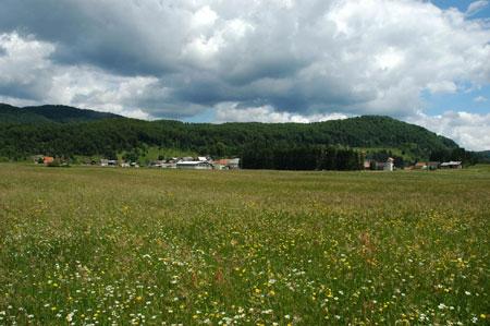 Pogled proti severovzhodnem delu kraja, zaselku Bukovica z Vražjim vrtcem
