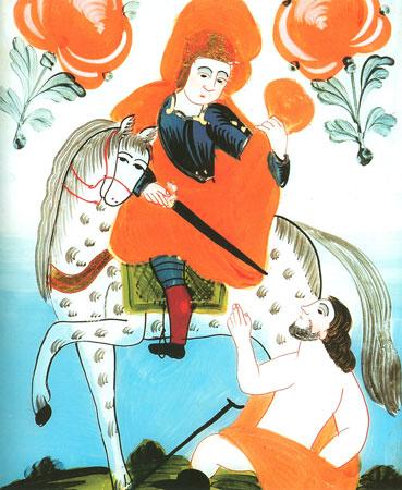 Sveti Martin reže del svojega plašča beraču. Slika na steklu iz zbirke Slovenskega etnografskega muzeja v Ljubljani.